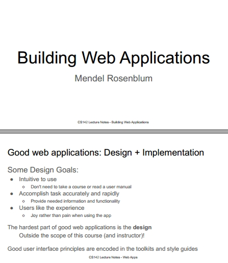 Книга на английском - Web Applications Development, Stanford Lectures: Building Web Applications - обложка книги скачать бесплатно